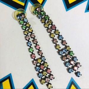 Vintage 80's long pastel rhinestone earrings